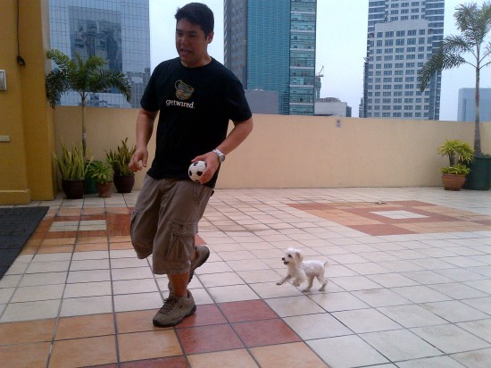 Running with his daddy