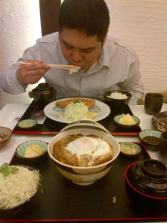 Gim eating Kurobuta Rosu Katsu set in Ginza Bairin Manila